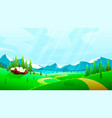 summer landscape house in fields nature vector image