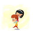 two friends having fun boy wear girl on his back vector image vector image