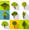 Types of trees icons set flat style vector image vector image