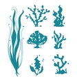 Underwater sea corals and algae silhouettes vector image vector image