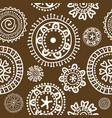 white doodle flowers on brown background vector image