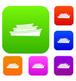 wooden boat set collection vector image vector image