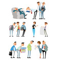 working situations with funny characters vector image vector image