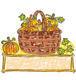 Basket with pumpkins vector image vector image