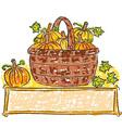 Basket with pumpkins vector image