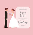 beautiful bride with bouquet and groom wedding vector image vector image
