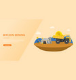 bitcoin mining concept for website template vector image