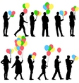 Black silhouettes of beautiful mans with balloons vector image vector image