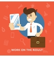 Businessman with tablet computer works on result vector image vector image