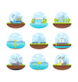cartoon energy generation color icons set vector image vector image