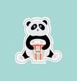 cartoon panda holding popcorn bag - flat vector image vector image