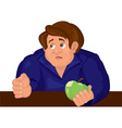 Cartoon sad man torso in blue top with apple vector image
