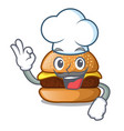 chef cheese tasty burger on character table vector image vector image