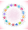 Colored gems square round frame vector image