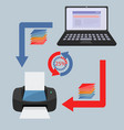 computer and wireless printing concept vector image vector image