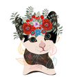 Cute card with lovely cat Cat in a wreath of vector image vector image
