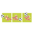 cute fox animal mascot with soccer ball vector image