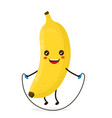 cute happy smiling banana doing exercises vector image