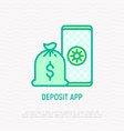 deposit app thin line icon bag with money vector image