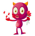 devil with roses on white background vector image vector image