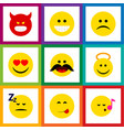 flat icon emoji set of sad asleep angel and vector image vector image