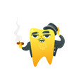 funny golden tooth adult character in coat and hat vector image vector image