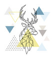 geometric deer silhouette on triangle background vector image