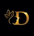 golden beauty initial letter d vector image vector image