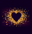 golden shining hearts confetti with cutout heart vector image