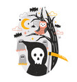halloween composition with grim reaper holding vector image vector image