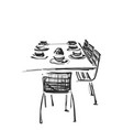 hand drawn wares dinner serving table and vector image vector image