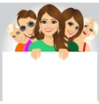 happy young people displaying white placard vector image vector image
