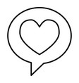 heart in speech bubble thin line icon love vector image vector image