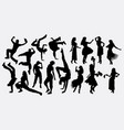hula girl and dancer silhouette vector image