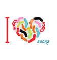 I love clean socks Heart symbol of colored clean vector image