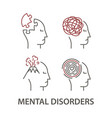 icons for mental disorders vector image vector image