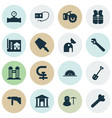 industrial icons set with observatory scraper vector image