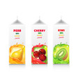 juice package box set cherry pear and kiwi vector image vector image
