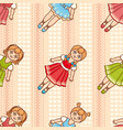 little ballerina cartoon style seamless pattern vector image vector image
