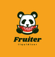 logo panda fruit simple mascot style vector image vector image