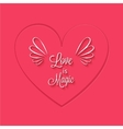 Love is magic phrase in heart frame vector image vector image