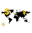 Major currencies on world map - business vector image
