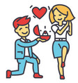 marriage proposal man and woman love ring vector image