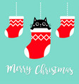 merry christmas hanging christmas socks dash vector image