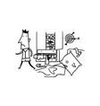 messy room boys cartoon vector image