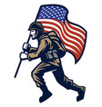 military soldier carrying the united states flag vector image vector image