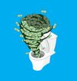 money in toilet wash off cash in wc vector image vector image