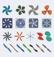 propellers fan icons isolated object boat vector image