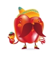 Red bell pepper character with thick moustache and vector image vector image