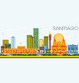 santiago chile skyline with color buildings and vector image vector image